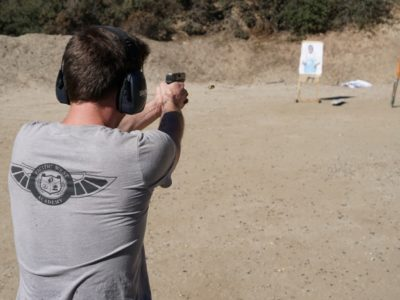 student at shooting range practicing to get the California Exposed Firearms Permit