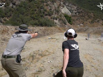 students at outdoor shooting range practice Advanced Handgun Shooting Tactics at PWA.edu